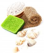 image of baste  - Bathroom composition with natural soap bast whisp and seashells isolated - JPG