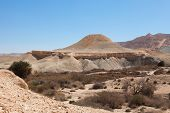 stock photo of flying saucer  - The hill in the form of a flying saucer in the Negev desert Israel - JPG