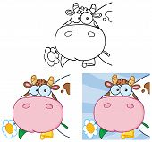 picture of cow head  - Cartoon Cow Head Carrying A Flower In Its Mouth - JPG