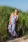 picture of minx  - Young woman with dreadlocks on nature background - JPG