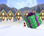 picture of quaint  - Santa delivering large gift against quaint town with bright moon - JPG