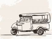 foto of rickshaw  - Hand drawn motorcycle rickshaw taxi Vector illustration - JPG