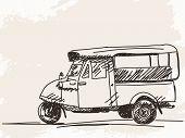 stock photo of rickshaw  - Hand drawn motorcycle rickshaw taxi Vector illustration - JPG