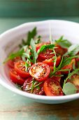 picture of flax seed oil  - Tomato and arugula salad with flax seeds - JPG