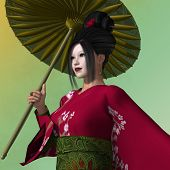 pic of geisha  - A Geisha is a young Japanese woman who dances serves food and entertains her audience - JPG