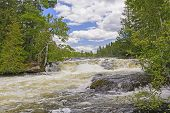 foto of chute  - Powerful Chute on the Falls Portage in Quetico Provincial Park - JPG