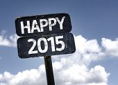 pic of reveillon  - Happy 2015 sign with clouds and sky background - JPG