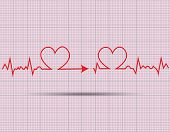 picture of beating-heart  - red heart beats cardiogram on pink background - JPG