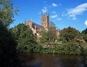 picture of church-of-england  - Cathedral Church on the banks of the river Severn Worcester Worcestershire England UK Western Europe - JPG