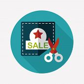 image of coupon  - Shopping Sale Coupon Flat Icon With Long Shadow - JPG