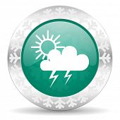 storm green icon, christmas button, waether forecast sign  poster