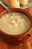 image of leek  - Leek and Potato Soup with bread rolls - JPG