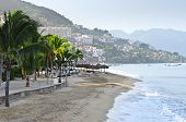 picture of malecon  - Beach and Malecon on Pacific Ocean in Puerto Vallarta Mexico - JPG