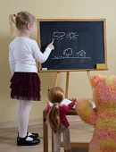 picture of little school girl  - little girl playing in the school - JPG
