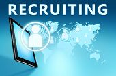 image of recruiting  - Recruiting illustration with tablet computer on blue background - JPG