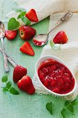 pic of strawberry  - strawberry jam and fresh ripe strawberries on the table - JPG