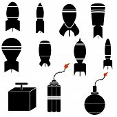 image of nuclear bomb  - Bomb Icon Set Isolated on White Background - JPG