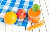 picture of light weight  - Healthy homemade carrot juice in glass and fresh carrot - JPG