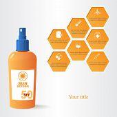 foto of honeycomb  - Sun dangers and sunscreen  EPS10 vector honeycomb illustration - JPG