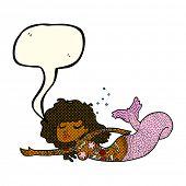 foto of mermaid  - cartoon mermaid with tattoos with speech bubble - JPG