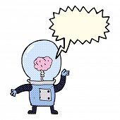 picture of cyborg  - cartoon robot cyborg with speech bubble - JPG