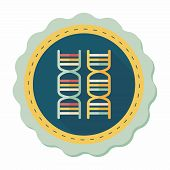stock photo of dna  - Dna Flat Icon With Long Shadow - JPG