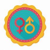 foto of gender  - Gender Symbol Flat Icon With Long Shadow - JPG