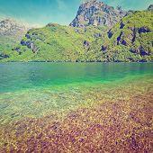 stock photo of lagos  - Lake Lago del Mis in the Dolomites Retro Effect - JPG