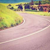image of farmhouse  - Asphalt Road Leading to the Farmhouse in Umbria Retro Effect - JPG