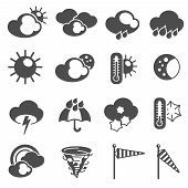 picture of fahrenheit thermometer  - Weather forecast symbols black pictograms set with thermometer and stormy clouds icons abstract graphic isolated vector illustration - JPG