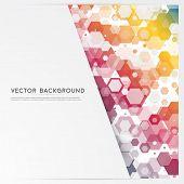 stock photo of hexagon  - Vector abstract color 3d hexagonal - JPG