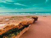 picture of atlantic ocean beach  - Beautiful beach in the Algarve coast ocean Atlantic Portugal - JPG