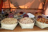 picture of stall  - Fruit and nut stall at the Medieval market Barbate Cadiz Province Andalusia Spain Western Europe - JPG