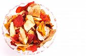 image of batata  - Crispy Colorful Root Vegetable chips Isolated on white with copy space - JPG