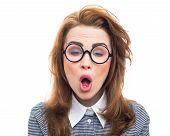 stock photo of geek  - Geek or loony face - JPG