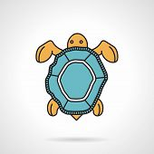 stock photo of turtle shell  - Flat color design vector icon for sea turtle with blue shell on white background - JPG