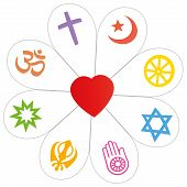 pic of common  - Religion symbols that form a flower with a heart as a symbol for religious unity or commonness  - JPG