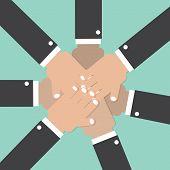 pic of joining hands  - Hands Join Together Teamwork Spirit Conceptual Vector Illustration - JPG