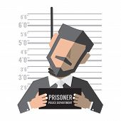 stock photo of measuring height  - Businessman Death Penalty Standing In Front Of Height Measurement - JPG