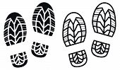 stock photo of boot  - Work Boots Print Black and White Vector Illustration - JPG