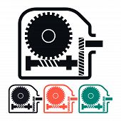 foto of worm  - Worm Gear Reducer Multicolored Vector Icon Illustration - JPG