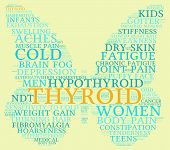 picture of fibromyalgia  - Thyroid butterfly shaped word cloud on a yellow background - JPG
