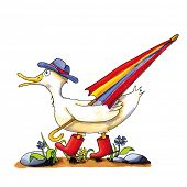 pic of duck  - Childish funny duck illustration with boots and umbrella - JPG