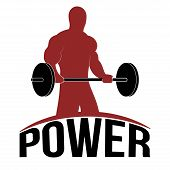 picture of barbell  - Man Lifting barbell Fitness Concept Icon Vector Illustration - JPG