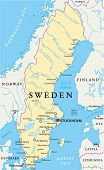 image of political map  - Sweden Political Map with capital Stockholm - JPG