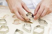 pic of sweet food  - Cutting forms with cookie cutters Cakes and sweet food preparation - JPG