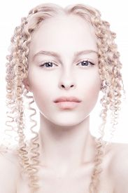 stock photo of pale skin  - Portrait of mysterious albino woman - JPG