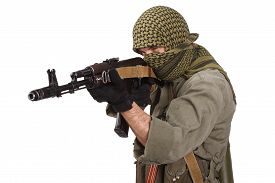 foto of ak-47  - shooter with AK 47 isolated on white - JPG