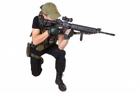 image of m16  - rifleman with m16 rifle isolated on white - JPG