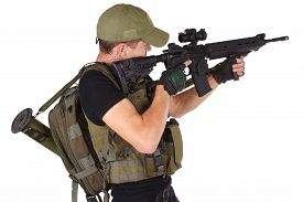 picture of m16  - rifleman with m16 rifle isolated on white - JPG